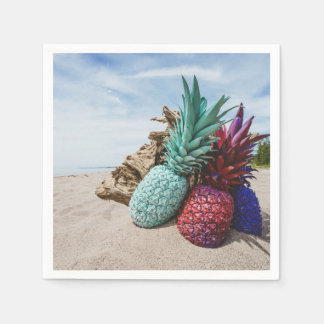 Colorful Pineapples on a Sandy Beach Disposable Napkin