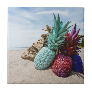 Colorful Pineapples on a Sandy Beach Tile