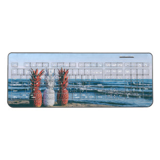 Colorful Pineapples on the Beach Wireless Keyboard
