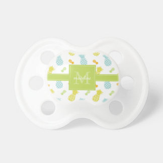 Colorful Pineapples Pattern Monogrammed Pacifier