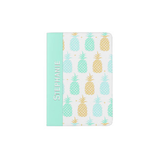 Colorful Pineapples Personalized Passport Holder