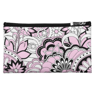 colorful pink and black zen pattern cosmetic bag