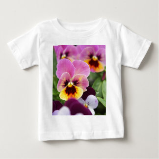 Colorful Pink and Yellow Pansy Flower Baby T-Shirt