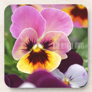 Colorful Pink and Yellow Pansy Flower Beverage Coaster