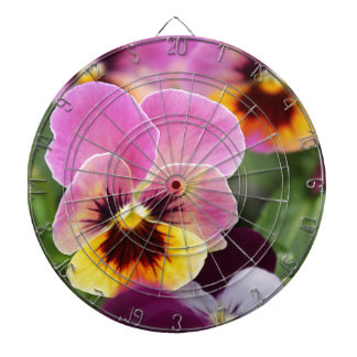 Colorful Pink and Yellow Pansy Flower Dartboard