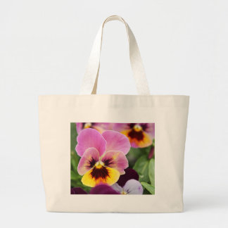 Colorful Pink and Yellow Pansy Flower Large Tote Bag