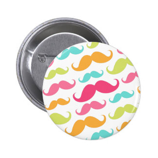 Colorful pink aqua trendy funny mustache pattern 2 inch round button