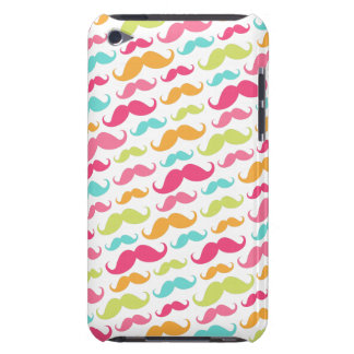 Colorful pink aqua trendy funny mustache pattern barely there iPod cover