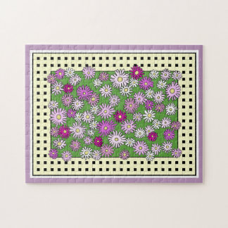 Colorful Pink Astor Flowers Jigsaw Puzzle