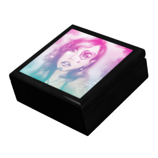 Colorful pink & black lady tile gift box - Rainbow