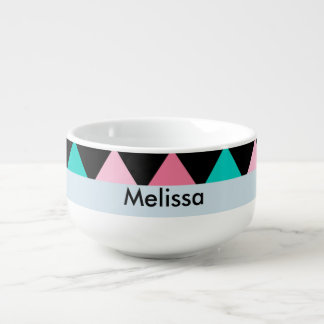 Colorful Pink Blue and Black Diamond Shape Soup Bowl With Handle