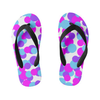 Colorful Pink Blue Dots - Kids Flip Flops