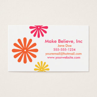 Colorful Pink Orange and Yellow Flowers Business Card