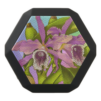 Colorful Pink Orchids Black Bluetooth Speaker