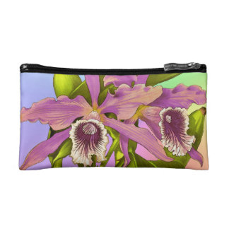 Colorful Pink Orchids Cosmetic Bag
