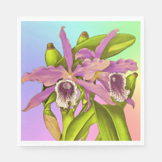 Colorful Pink Orchids Disposable Napkin