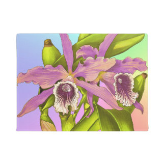 Colorful Pink Orchids Doormat