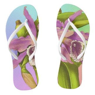 Colorful Pink Orchids Flip Flops