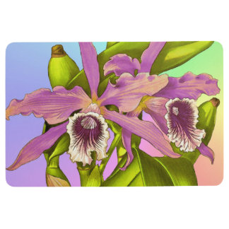 Colorful Pink Orchids Floor Mat