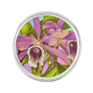 Colorful Pink Orchids Lapel Pin