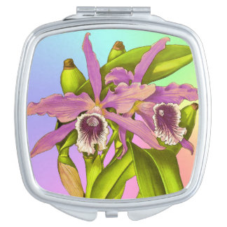 Colorful Pink Orchids Mirror For Makeup