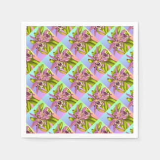Colorful Pink Orchids Paper Napkins