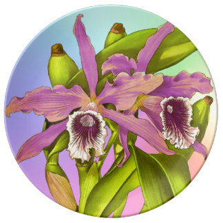 Colorful Pink Orchids Plate