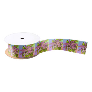 Colorful Pink Orchids Satin Ribbon