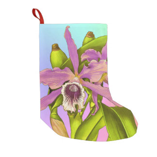 Colorful Pink Orchids Small Christmas Stocking