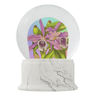 Colorful Pink Orchids Snow Globe
