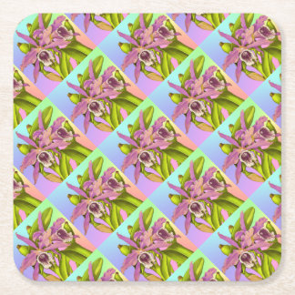 Colorful Pink Orchids Square Paper Coaster