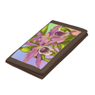 Colorful Pink Orchids Tri-fold Wallets