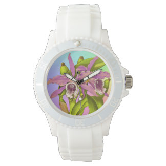 Colorful Pink Orchids Watch