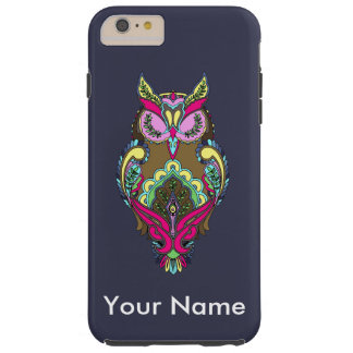 Colorful Pink Owl Dark Blue Background template Tough iPhone 6 Plus Case