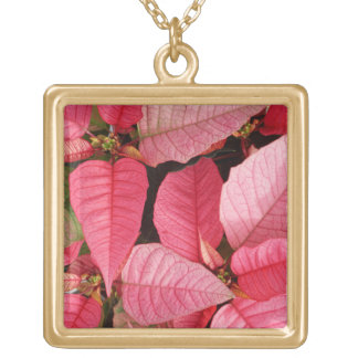 Colorful Pink Poinsettia Christmas Floral Gold Plated Necklace