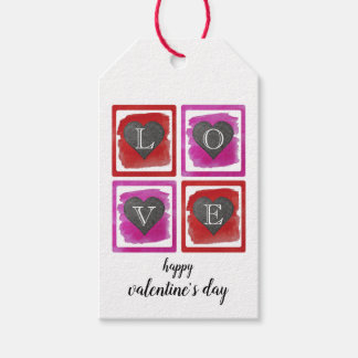 Colorful Pink Red Framed Ink Crosshatched Hearts Gift Tags