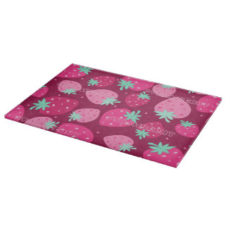 Colorful pink strawberry pattern boards