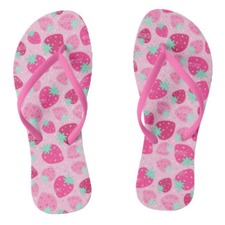 Colorful pink strawberry pattern flip flops
