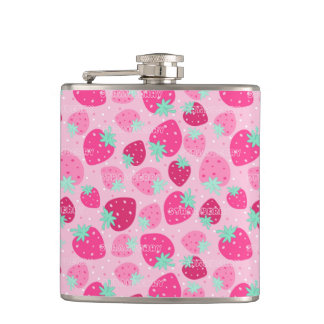Colorful pink strawberry pattern hip flask