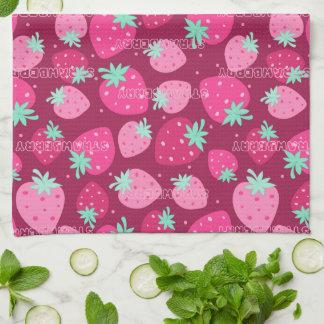 Colorful pink strawberry pattern kitchen towel
