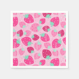 Colorful pink strawberry pattern paper napkins