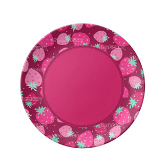 Colorful pink strawberry pattern porcelain plate