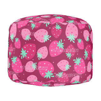 Colorful pink strawberry pattern pouf