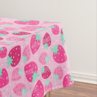 Colorful pink strawberry pattern tablecloth