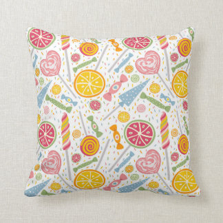 Colorful Pink Yellow Blue Candy on White Throw Pillow