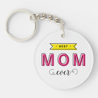 Colorful Pink Yellow Modern Fun Best Mom Ever Keychain