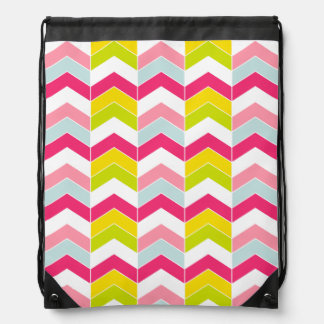 Colorful Pink ZigZag Chevron Pattern Drawstring Bag