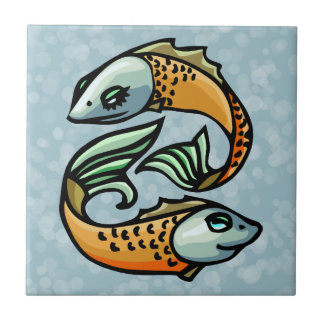 Colorful Pisces Fish on Blue Tile