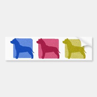 Colorful Pit Bull Silhouettes Bumper Sticker