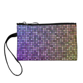 Colorful pixel mosaic coin purses